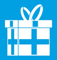 gift in a box icon white vector image