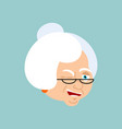 grandmother winks emotion avatar face grandma vector image