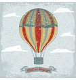 grunge vintage hot air balloon in the sky with vector image