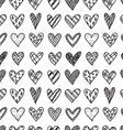 Hand drawn seamless pattern with doodle hearts vector image vector image