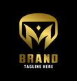 initial logo shield design m vector image vector image