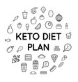 keto diet nutrition plan icons with sign in vector image vector image