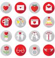 Love Objects Flat Icons Set vector image