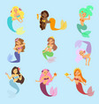 mermaid girl character design coral set vector image