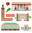 morocco marakesh travel set with architecture vector image vector image