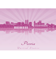 Peoria skyline in purple radiant orchid vector image vector image