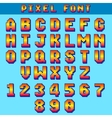 Pixel 8 bit letters and numbers game font vector image vector image