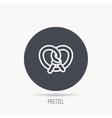 Pretzel icon Bakery food sign vector image vector image
