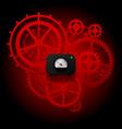 red gear wheels of clockwork with circular meter vector image vector image