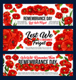 remembrance day 11 november poppy banners vector image vector image