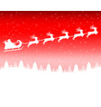 santa claus in a sleigh with a reindeer team flies vector image