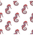 seamless pattern with sea creature seahorse vector image vector image