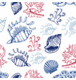 seamless pattern with shells and corals sketch vector image