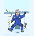 the fisherman on winter fishing vector image vector image