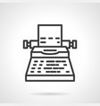 typewriter black simple line icon vector image