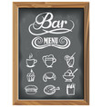 vintage chalkboard with bar menu and food icons vector image