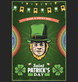 vintage colored st patricks day poster vector image vector image