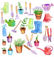 watercolor garden doodle set vector image vector image