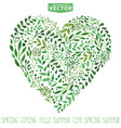 watercolor green branches heart composition vector image vector image