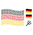 waving germany flag collage of trident fork icons vector image vector image