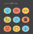 zoology icons set collection of fish claw print vector image vector image