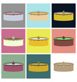 set icons in flat design cheesecake vector image