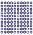 100 farm icons hexagon purple vector image vector image