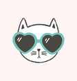 adorable face or head cat wearing heart-shaped vector image vector image