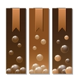 Banners with stickers and chocolate texture vector image
