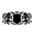black sign with winged lions and a shield vector image
