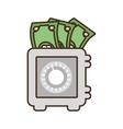 cartoon save box money cash bills vector image
