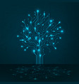 circuit tree on blue background science vector image vector image