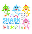 collection of cute baby shark cartoon vector image vector image
