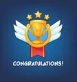 congratulations golden winner cup banner vector image