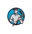 Construction Worker Pickaxe Circle Cartoon vector image vector image