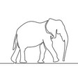 continuous line elephant walking symbol vector image