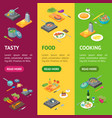 cooking or preparation food banner vecrtical set vector image vector image