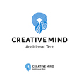 creative logo with man head and lamp vector image