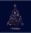 creative merry christmas festival card with vector image