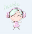 cute cartoon girl with headphones is listening to vector image