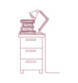 dark red line contour of filing cabinet with lamp vector image vector image