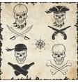 emblems skulls on pirate theme vector image vector image