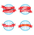 festive ribbons merry christmas around the globe vector image vector image