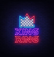 fight club neon sign king ring logo in neon style vector image