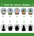 find correct shadow snowballs with christmas vector image vector image