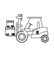 forklift loaded with cardboard boxes logistics and vector image vector image