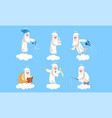 funny elderly male angel character in different vector image vector image