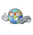 gamer picture of the cartoon langait earth vector image