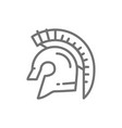 gladiator warrior helmet spartan line icon vector image