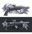 graphic detailed old revolvers set with roses vector image